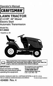 Craftsman 917289220 User Manual Tractor Manuals And Guides