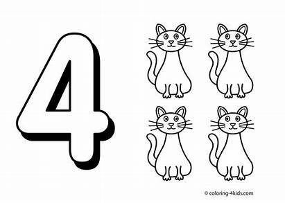 Number Clipart Coloring Sheets Numbers Four Clipground