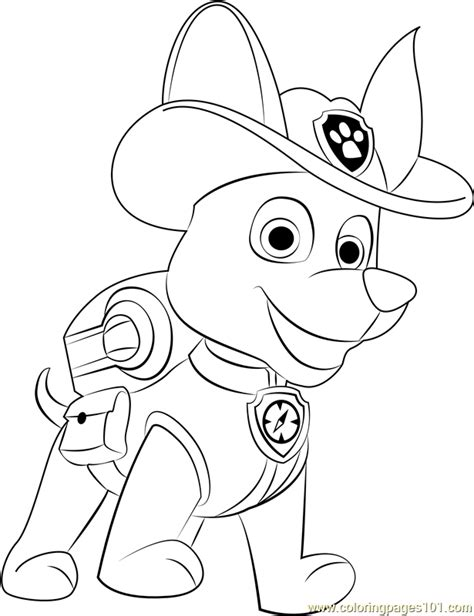 Tracker Coloring Page Free PAW Patrol Coloring Pages