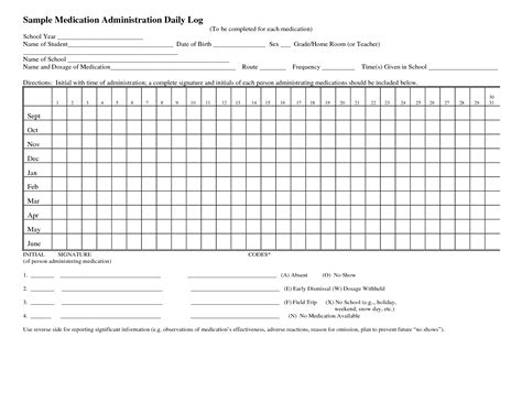 medication administration record template 8 best images of daily medication log printable daily medication log template free printable
