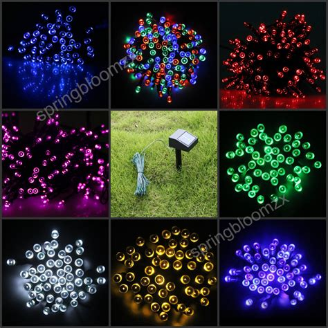 patio string light ideas outdoor solar panel powered 9 colors 12m light 100 led