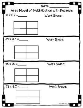 5nbtb7  Area Model With Multiplication Of Decimals Worksheet Practice