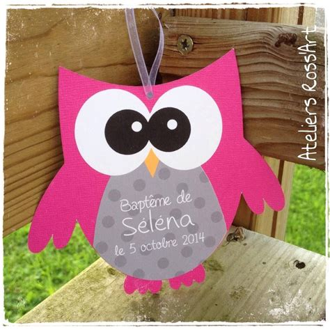 invitation faire part bapteme hibou chouette fuchsia le