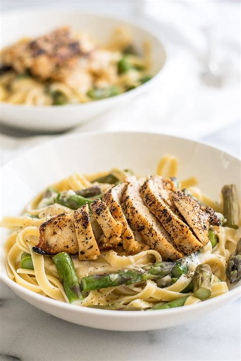 pasta dinner recipes for two creamy chicken and asparagus pasta dinner for two baking mischief
