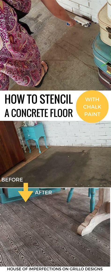 stencil concrete floors  chalk paint