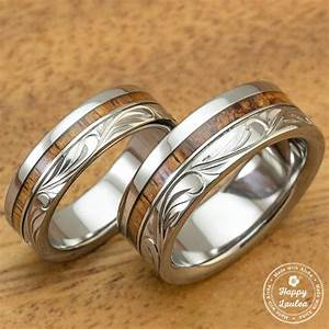 titanium wedding band set with hawaiian koa wood inlay With hawaiian style wedding rings