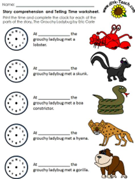 The Grouchy Ladybug Story Comprehension Telling Time
