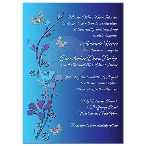cheap silver rings wedding invitation royal blue turquoise mauve flowers