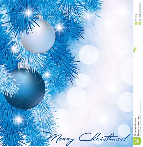 christmas card  blue silver balls stock photography