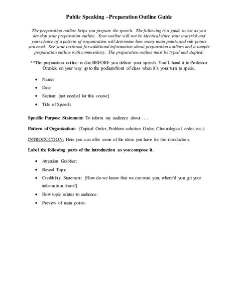 Tspeech Test Template by Prep Outline Final Speech Template