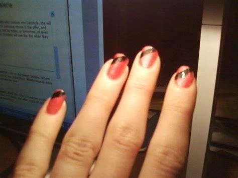 hot pink  black nails   paint  nail painting