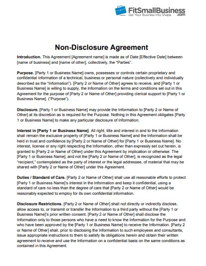 disclosure agreemnt nda templates poster template
