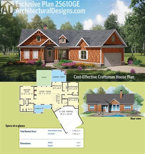 plan ge cost effective craftsman house plan   house plans house  porch ranch