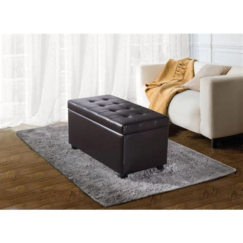 simpli home cosmopolitan storage ottoman simpli home cosmopolitan rectangular faux leather storage
