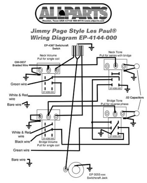 Wiring Kit For Gibbson Jimmy Page Les Paul Complete