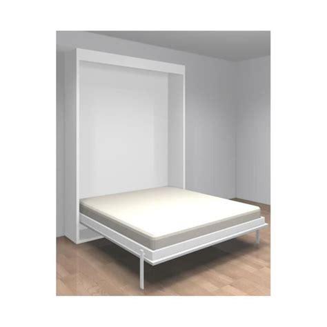 alinea bureau blanc armoire lit escamotable verticale 2 places 140 x 190 teo
