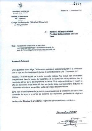lettre relative 224 la commission ad hoc adress 233 e au pr 233 sident de l assembl 233 e nationale