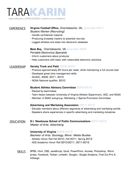 standard font size and style for resume ideas