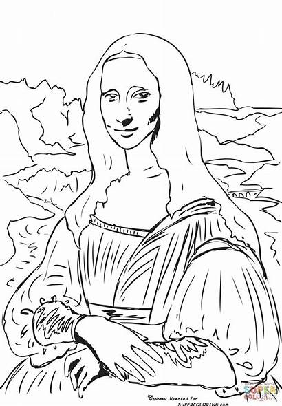 Colouring Painting Famous Pages Mona Lisa Fun