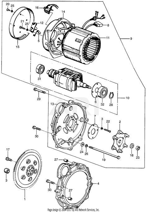 honda em  generator jpn vin em  parts diagram  alternator flywheel