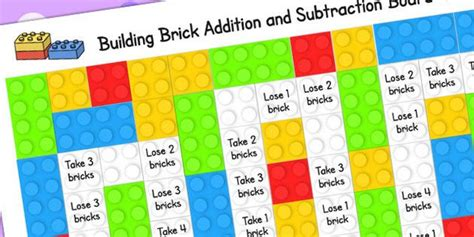 building brick addition  subtraction board game add