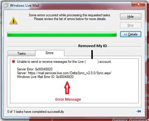 bios windows live mail throwing error id 0x80048820 while updating my e mail account user