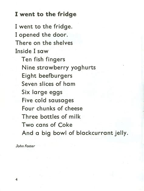 Funny English Classroom Food Poem