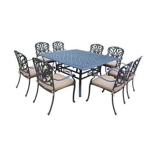 oakland living cast aluminum 9 square table patio