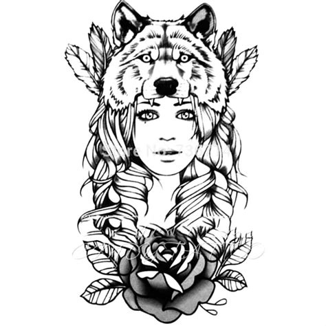 tatouage ephemere  grand visage fille loup beauty noir
