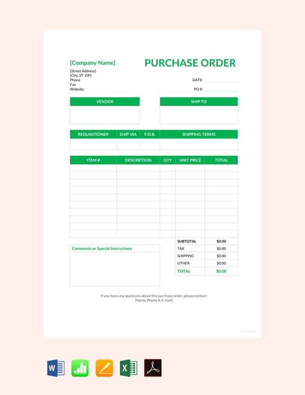 blank purchase order template  word excel