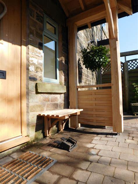 porch oak frame construction woven wood side panels