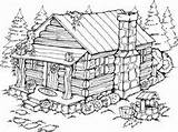 Cabin Coloring Pages Log Summer Cabins Drawing Printable Burning Wood Adult Woods Cottage Patterns Stamps Stampin Stencils Rubber Scenes Drawings sketch template