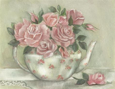 shabby chic paintings shabby teapot rose painting painting by chris hobel