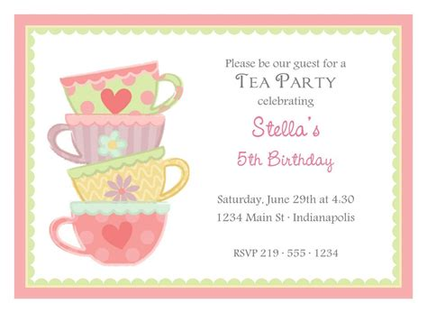 afternoon tea party invitation template tea party