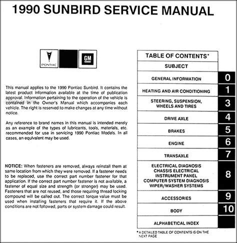 service manuals schematics 1990 pontiac turbo firefly auto manual 1990 pontiac sunbird repair shop manual original