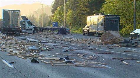 Semi Truck Crash Spills Lumber Across Eastbound I-90