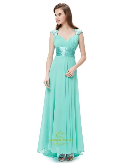 mint green chiffon sweetheart bridesmaid dresses  cap