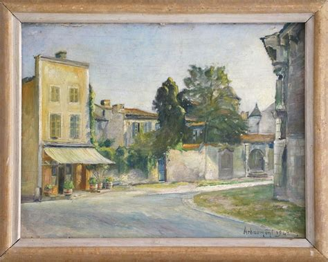 vintage oil painting french village sold  french finds