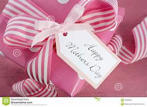 Happy Mothers Day White Gift Box With Pink Stripe Ribbon ...