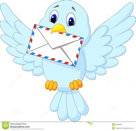 msn lettere bird delivering letter stock vector