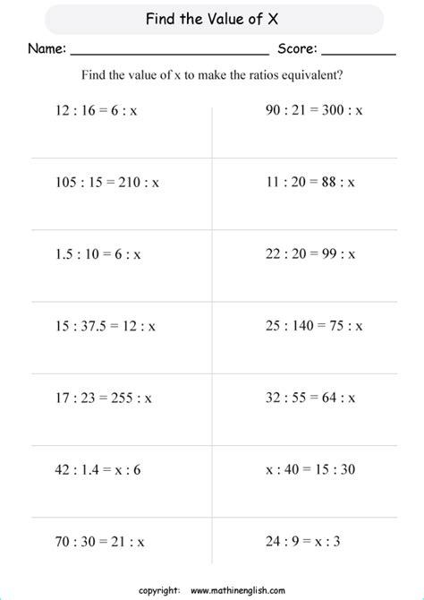 math ratio  proportion worksheet  grade