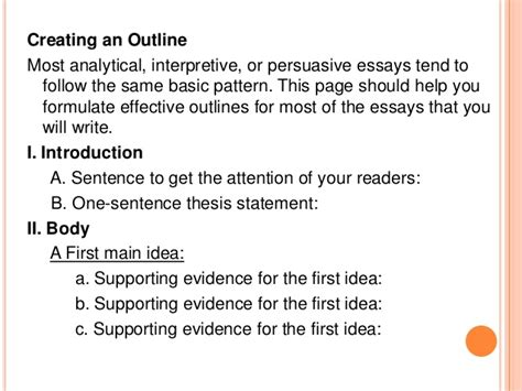 Interpretive Essay Outline  Cfcpoland Interpretive Essay Outline Creating An Outline