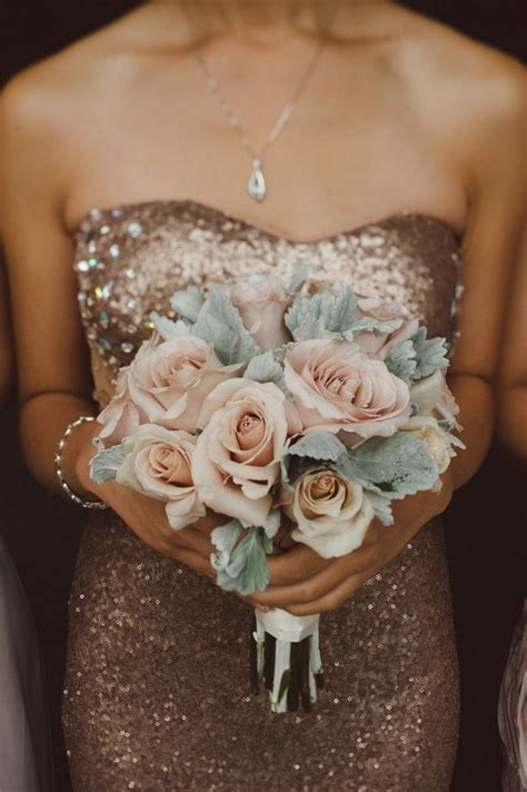 Rose Gold Sequin Bridesmaids Dresses with Blush Flowers