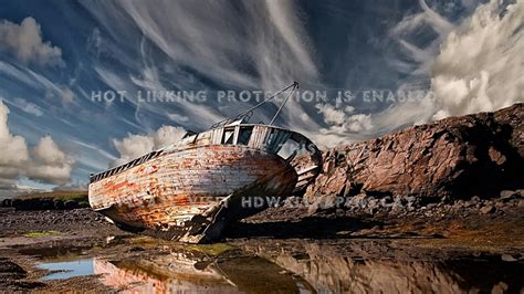 Broken Boat Wreck Old Nature Ship Oxv