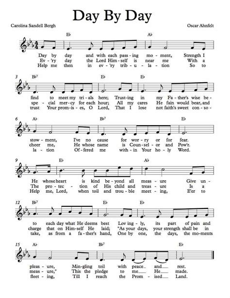 Enjoy learning english like never before playing with the music videos and filling in the lyrics of your favorite songs. Free Lead Sheet - Day By Day   Hymns lyrics, Hymn music, Hymn sheet music