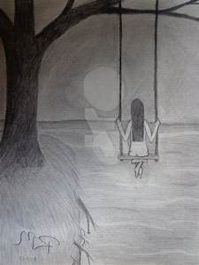 Sad And Lonely Girl Drawing Simple Sketch Of Sad And Alone ...