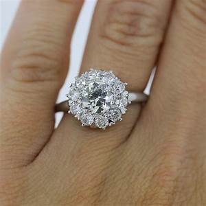 platinum 101ct old european cut diamond cluster style With european style wedding rings