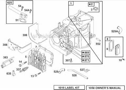Briggs and Stratton 625 Series Parts List