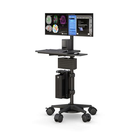ergonomic standing mobile pc cart on wheels afcindustries com