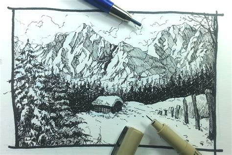 Drawn Landscape Snow Mountain Pencil And In Color Drawn